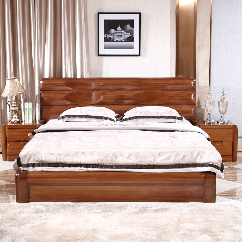 All solid wood bed PK elm walnut bed bed 1.5 meters 1.8 meters double bed bed gold ebony furniture