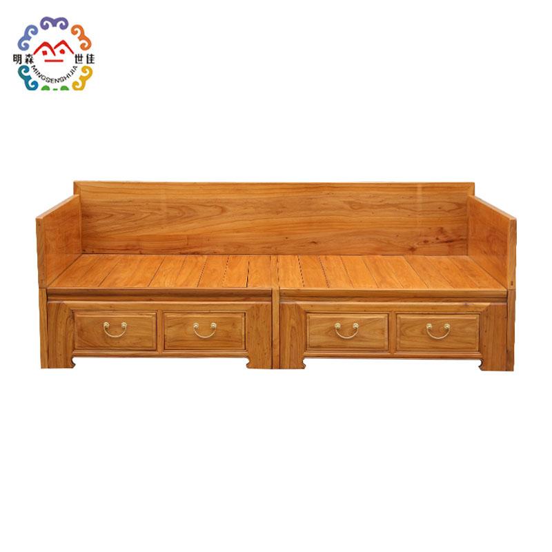 新中国の全木造羅漢ベッド伸縮羅漢ベッド小茶卓老楡材のソファーベッド両用ツイブローチ盤