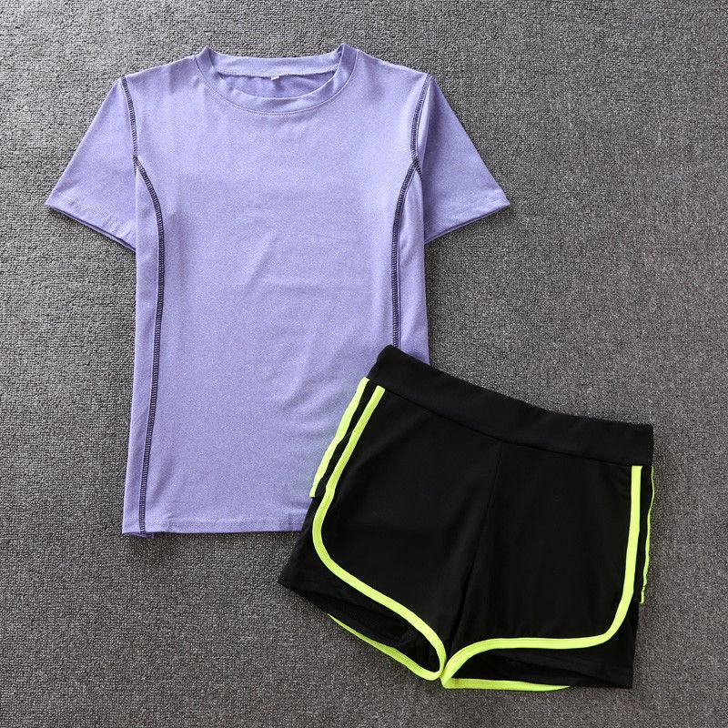 2件套(紫色T恤 绿边短裤)
