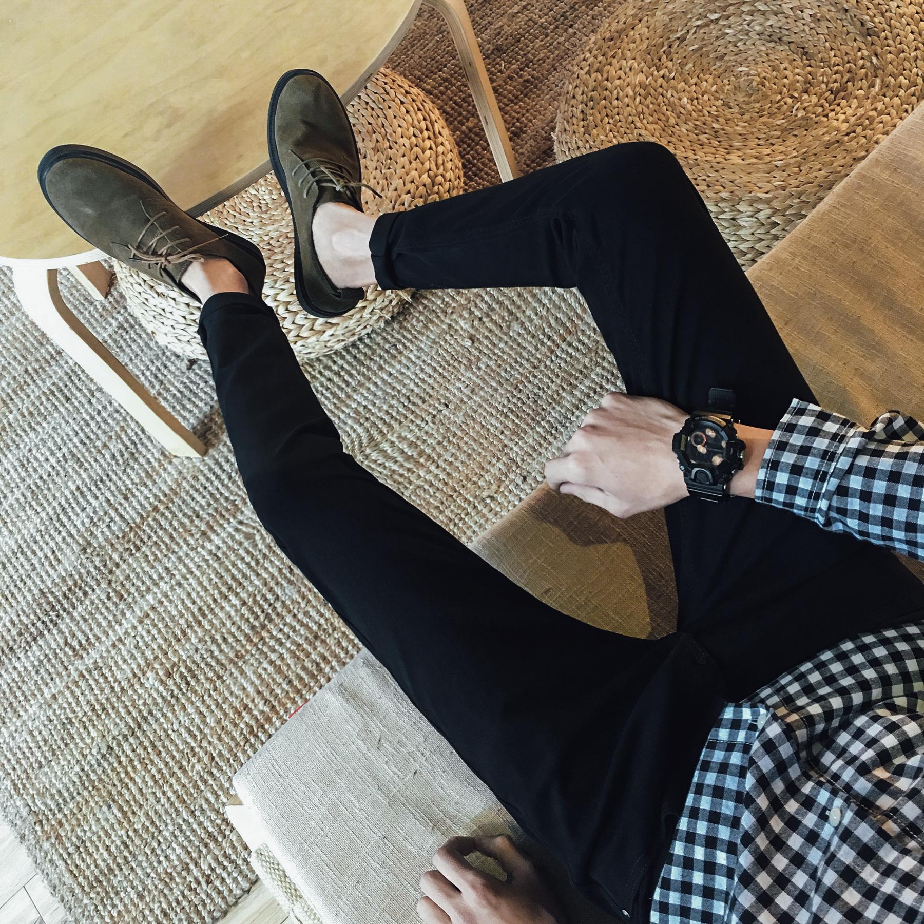 秋鼕季九分牛仔褲男青少年小腳修身型韓版黑色百搭男士長褲子潮流