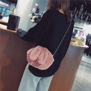 毛绒兔子斜挎包2019新款包包可爱时尚百搭链条包休闲单肩少女小包