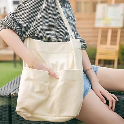 简约百搭帆布包单肩超大容量手提包包购物袋棉麻袋棉布袋定制logo