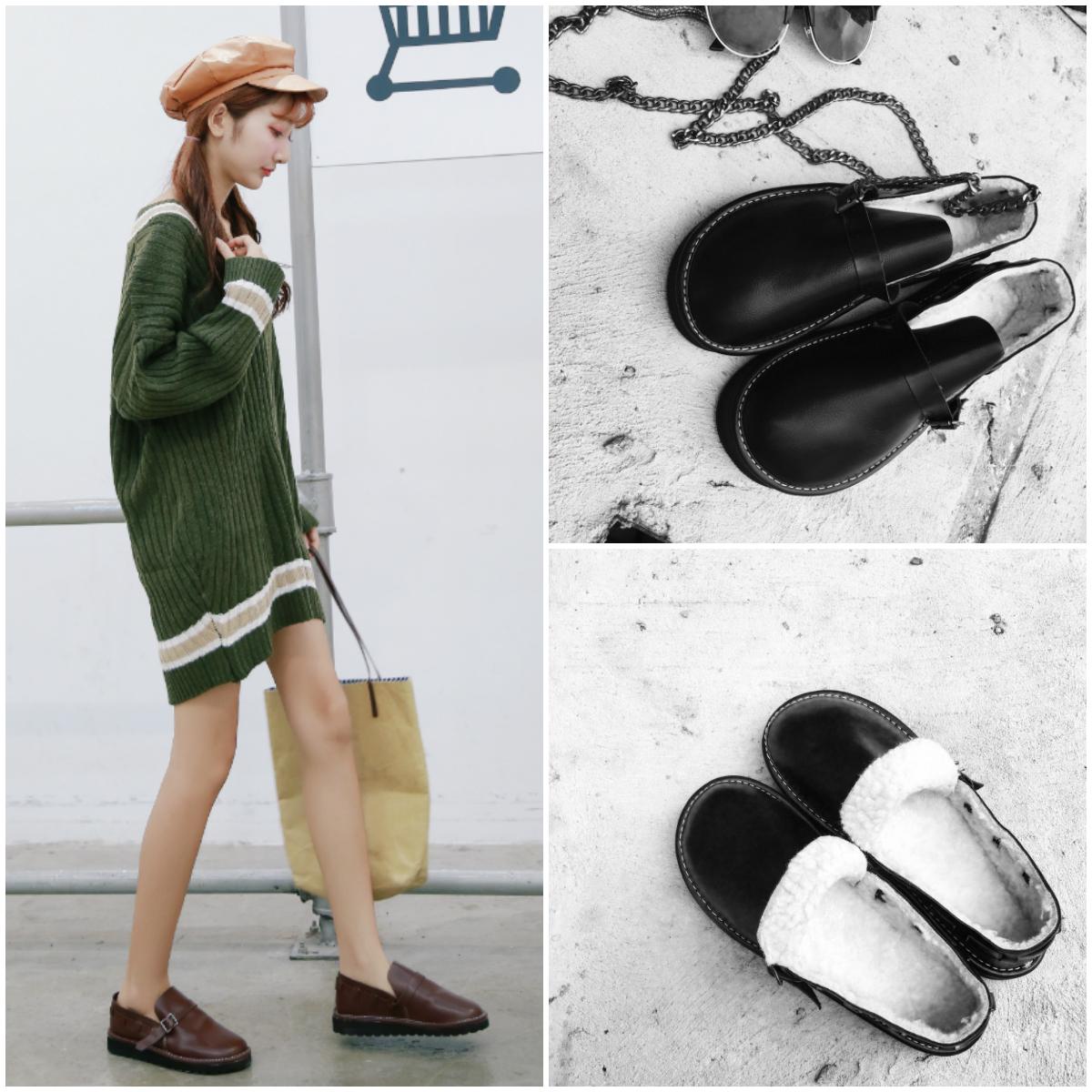韩国ulzzang日系原宿学院风娃娃鞋加绒大头单鞋厚底小皮鞋女棉鞋