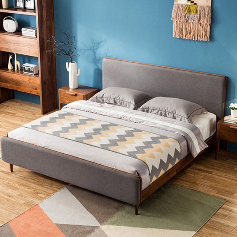 The Japanese black walnut bed solid wood bed 1.8 meters double bedroom modern minimalist design soft bed