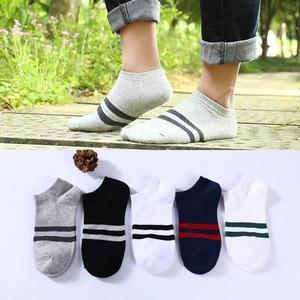 船袜男夏季薄款浅口纯色纯棉吸汗短袜男士复古潮流粗线运动棉袜子