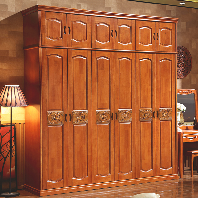 Modern simple new Chinese solid wood wardrobe, rubber wood door to top assembly of 3456 wardrobes
