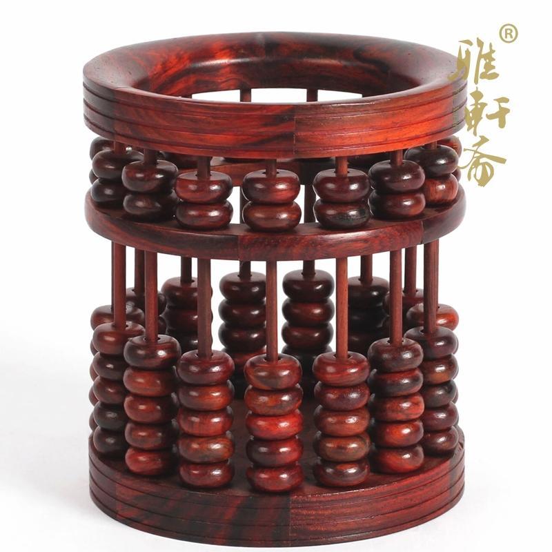 老撾大紅酸枝筆筒毛筆筆筒木制辦公算盤紅木雕工藝品復古多