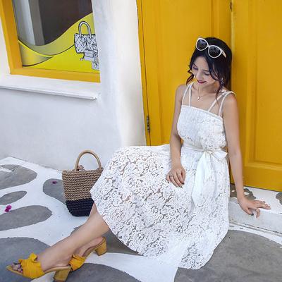 大范范原创吊带蕾丝露肩宽松纯白泰国连衣裙度假中长裙附腰带