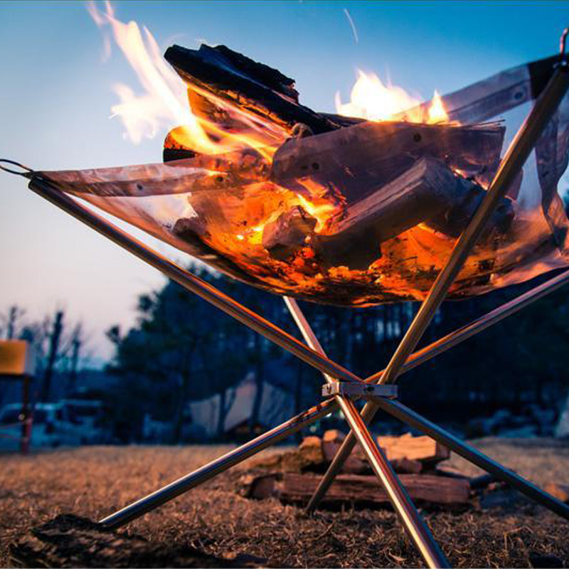 Outdoor ultra light firewood stove, stainless steel point carbon stove, folding barbecue rack, raw stove, carbon heating stove, fire rack
