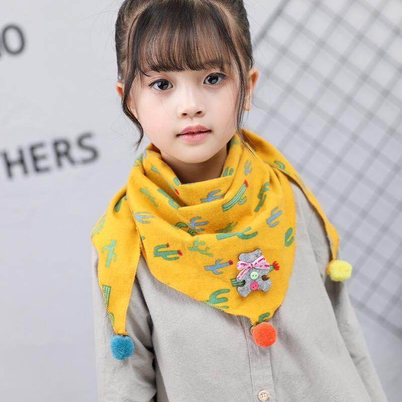 儿童秋冬季围巾卡通印花男女童围脖宝宝0-8岁韩版三角巾保暖围兜