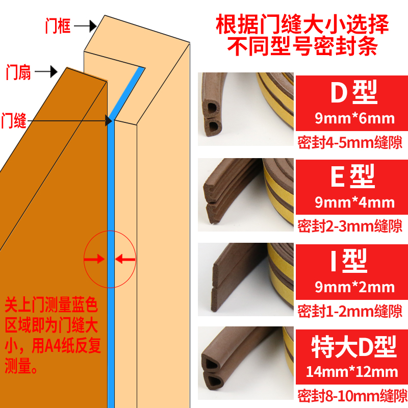 Self adhered door, door bottom, windproof room door and window sealing strip, window insulation, heat insulation and sound insulation silica strip