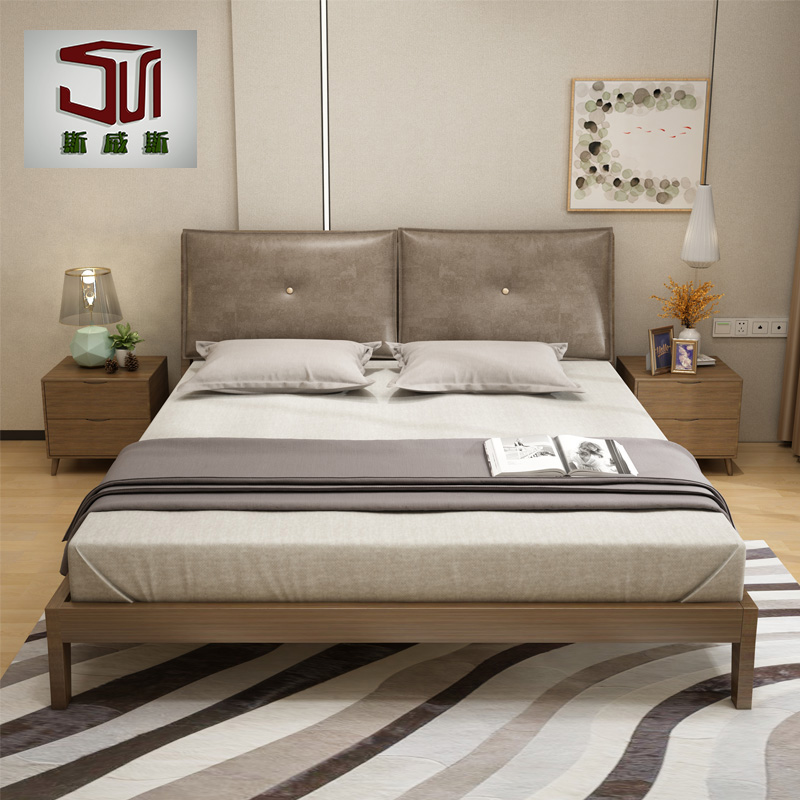 Modern minimalist double 1.8 Nordic wooden backrest soft cloth bed 1.5 large-sized apartment bed bedroom