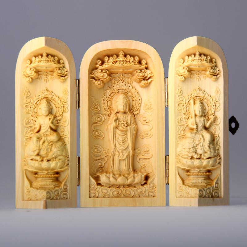 千手觀音黃楊木雕佛像海神天妃媽祖千里眼耳三開盒小號折疊佛龕10c