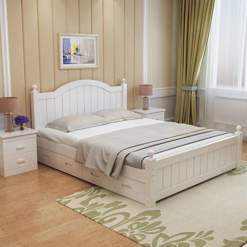 Solid wood double bed, economical single bed, adult girl, simple modern children's boy, small apartment, bedroom white