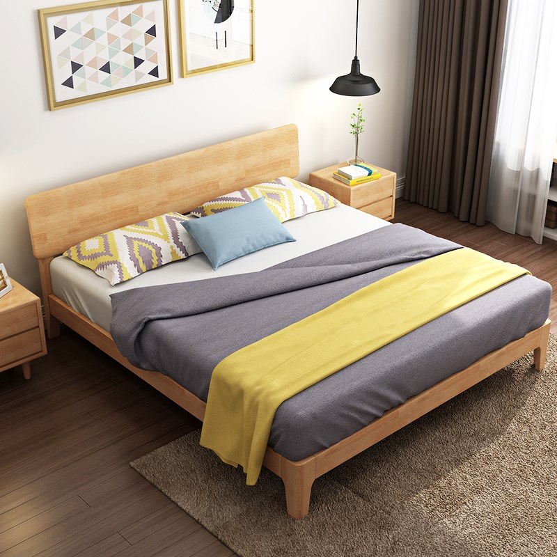 Nordic solid wood bed, 1.8 meter double bed master bedroom, modern minimalist Japanese style 1.5m1.2 economy type storage single bed