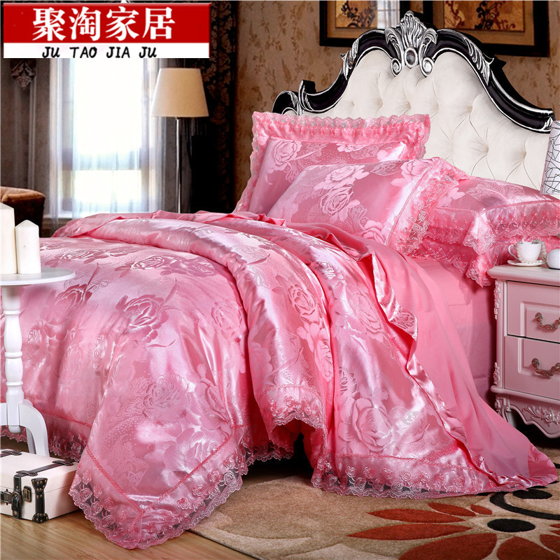 European luxury silk satin jacquard cotton embroidery hollowed out four sets of four sets of bedding
