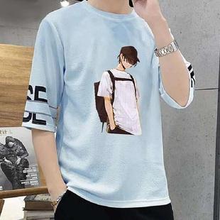 棉夏季中袖男韩版短袖t恤潮流5五分袖休闲半袖学生打底衫体恤衫