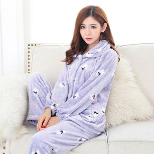 法兰绒睡衣女秋冬季家居服套装长袖珊瑚绒韩版加厚居家服甜美可爱