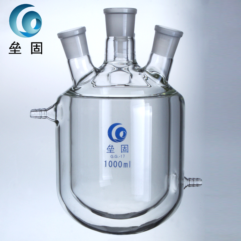 Four jacketed reactor 10000ml50*24*24*24 double deck reactor glass jacket reaction bottle