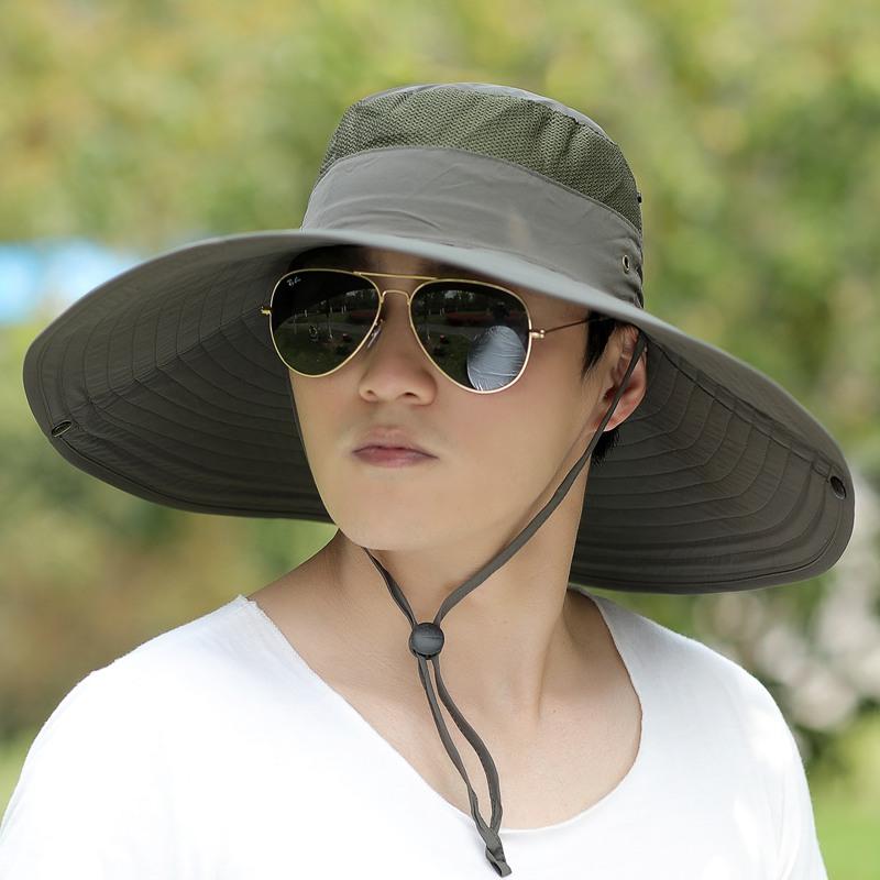 黑色可調節戶外釣魚帽夏天太陽帽大檐漁夫帽男士防曬遮陽韓版潮登山帽子