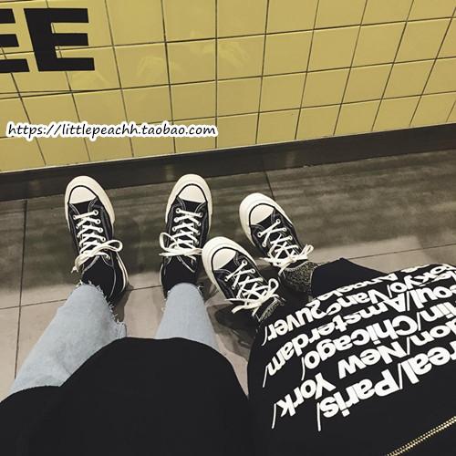 小黄桃 韩国街拍复刻原宿港风简约百搭高低帮帆布鞋女情侣休闲鞋