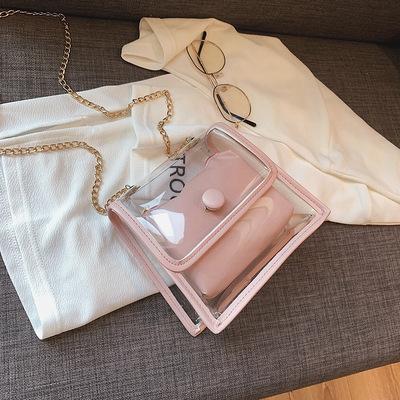 【了心】新款女包韩版潮透明子母小方包百搭单肩包链条斜跨小包包