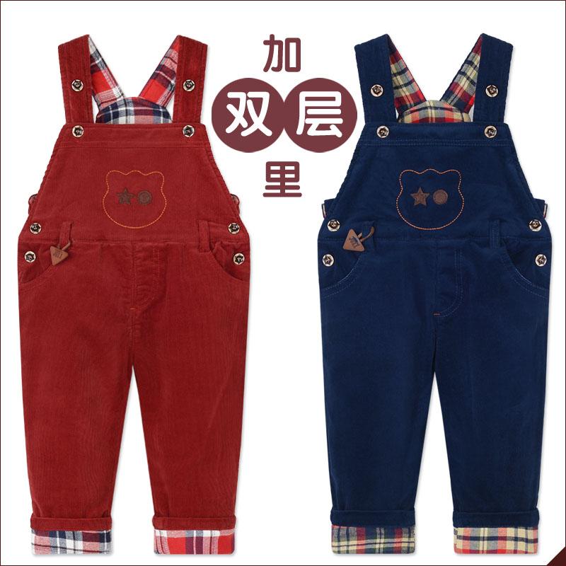 秋冬季童装男童背带裤女童儿童背带裤宝宝纯棉加里加绒长裤灯芯绒