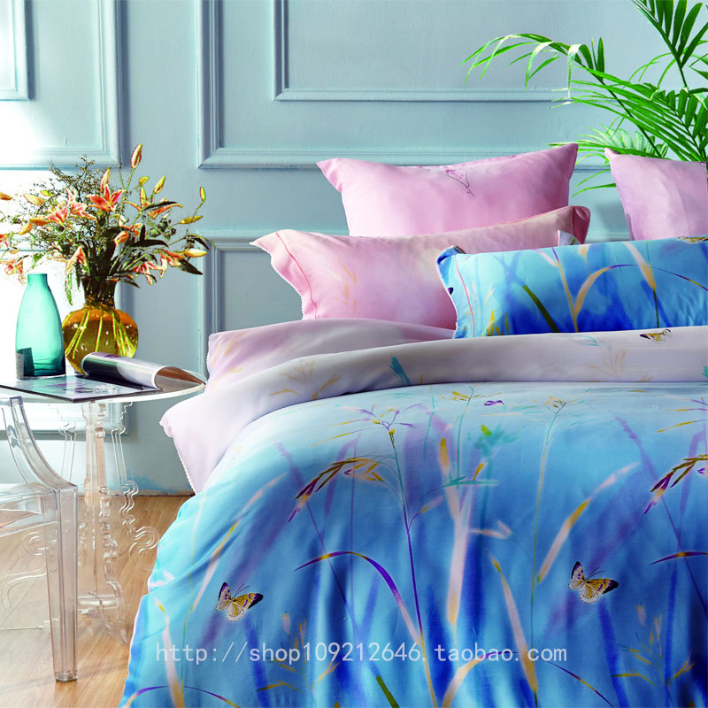 The language of dream home counter genuine 60S silk printing four pieces of 1.5-1.8 bed with soft dream flowers (blue)