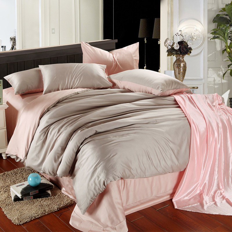 Four sets of smooth satin are fitted round size double color sheets set European Tencel Bedding Set