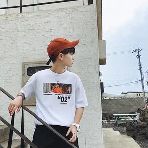 實拍3677#2018夏季新款韓版港仔男裝寬松純棉T恤短五分袖t恤控45
