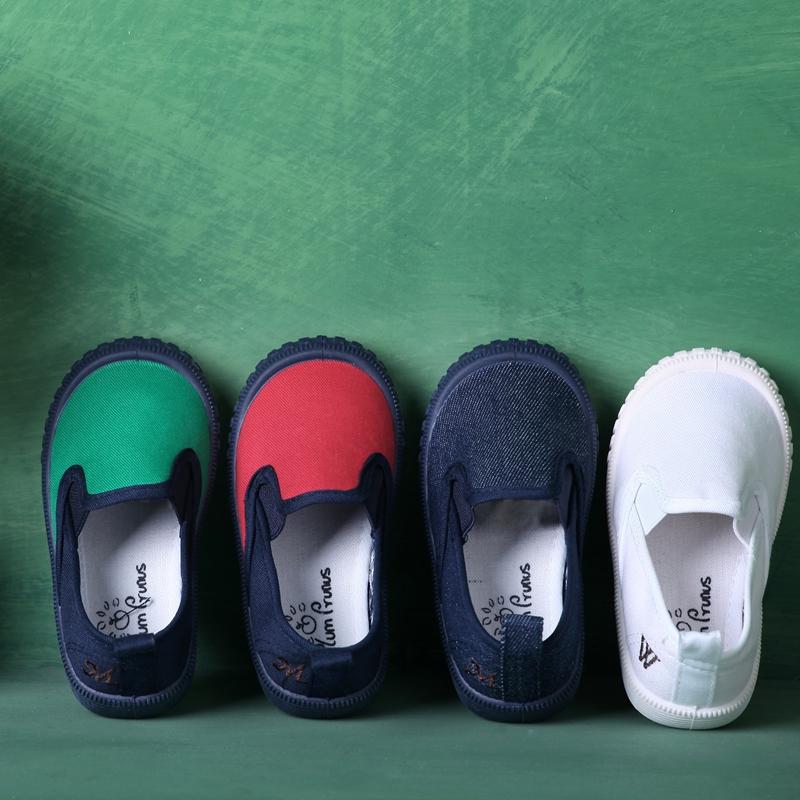 秋季儿童帆布鞋男童宝宝布鞋小白鞋懒人一脚蹬女童鞋子幼儿园室内