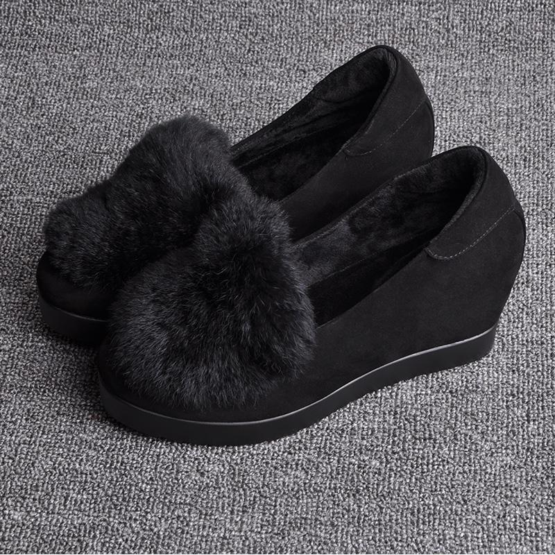 毛毛鞋女秋冬8cm内增高女鞋加绒面厚底真皮休闲鞋 黑色增高松糕鞋