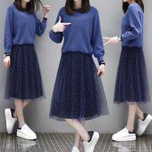 早春季女装新款小个子毛衣穿搭纱裙两件套装洋气春秋连衣裙子51