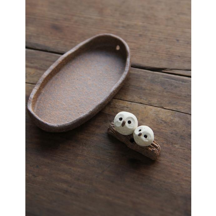 現貨 日本 信楽燒 手工作 親子貓頭鷹 粗陶器 日式線香立