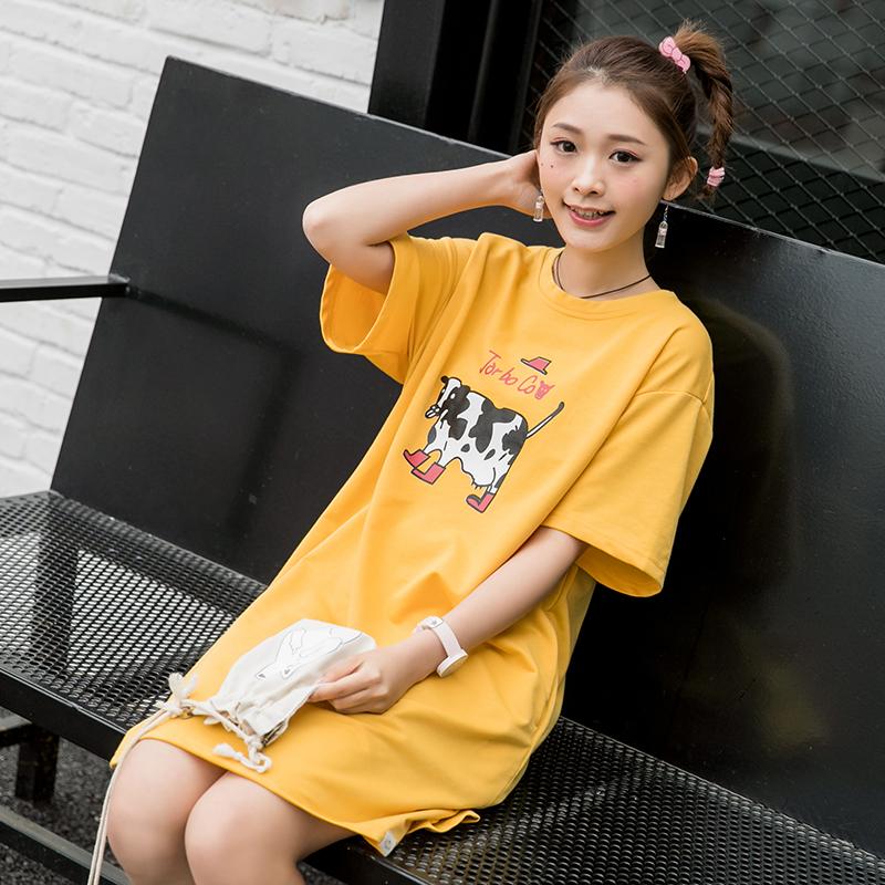 Áo T-shirt/Váy nữ cộc tay họa tiết in hoa thời trang dễ kết hợp phong cách Nhật Bản phù hợp cho mùa hè kiểu dáng rộng rãi kiểu dáng dễ thương mẫu mới nhất