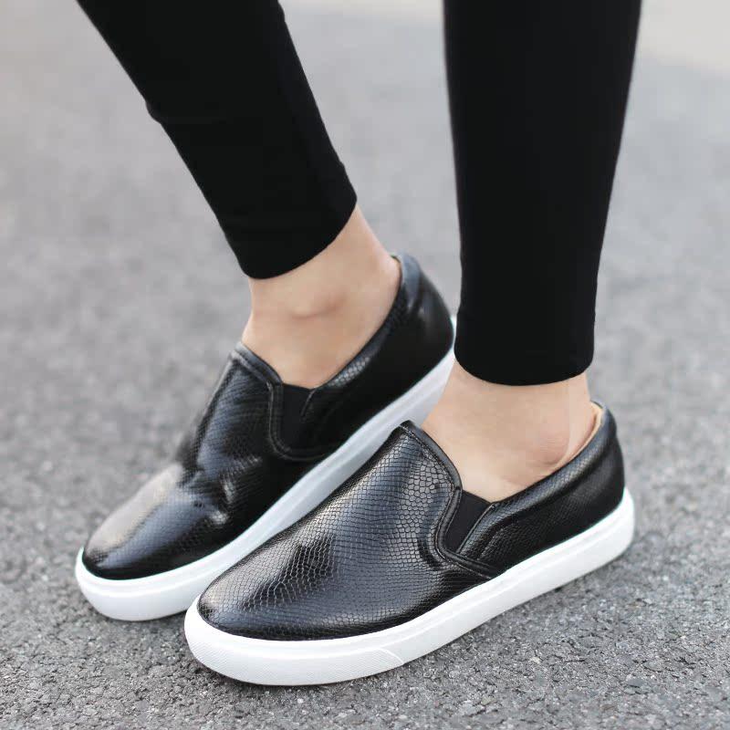黑色35小p良品鋪 休閑百搭圓頭女鞋蛇紋拼色樂福鞋低幫松糕單鞋