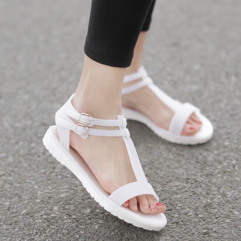 白色35小p良品鋪  簡約時尚舒適塑料鞋果凍鞋百搭平底羅馬露趾涼鞋女