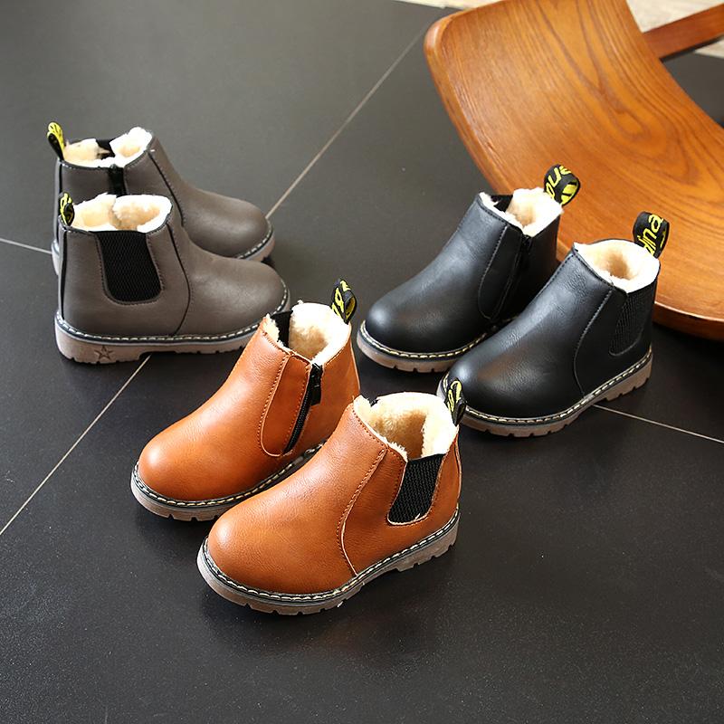 儿童马丁靴2017秋冬季新款儿童雪地靴男童宝宝鞋女童靴子短靴皮靴