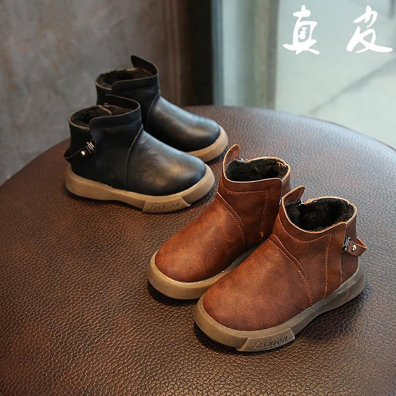 儿童马丁靴2017秋冬新款男童真皮宝宝鞋女童靴子英伦皮鞋潮大棉鞋