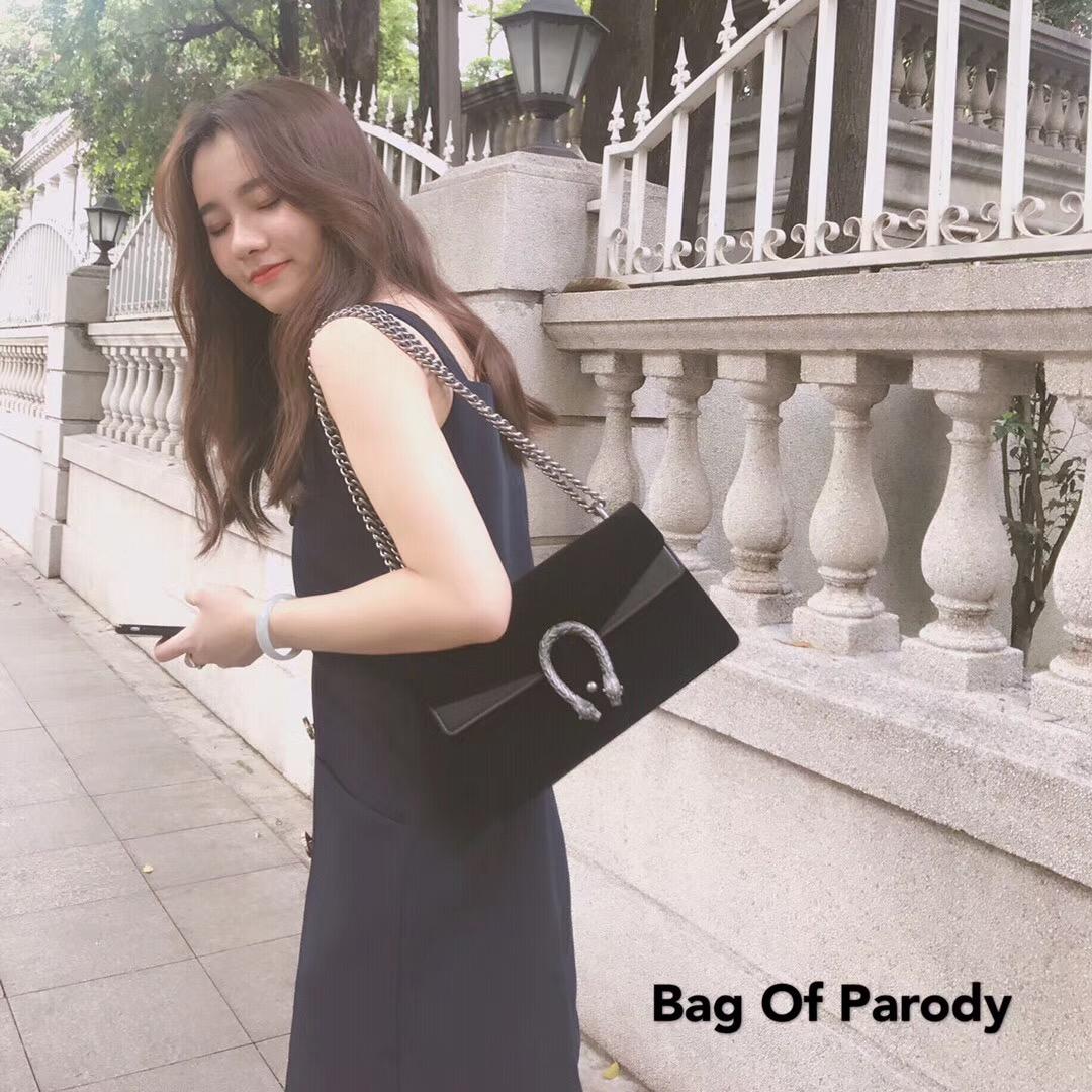 Bag of parody 官网新款丝绒链条小方复古酒神包单肩斜挎蛇头女包