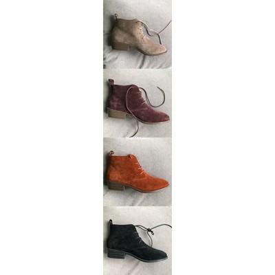 10/12 秋冬搭配神器 圆头磨砂皮 低跟系带短踝靴原单