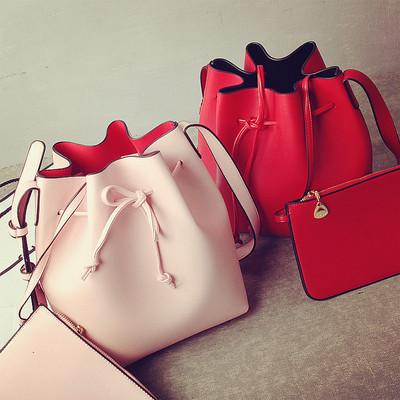 2016新款女包欧美时尚复古抽带水桶包简约休闲单肩斜挎包小包包潮