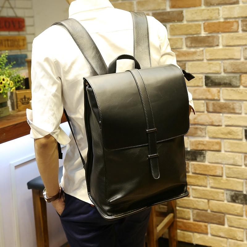 新日韩双肩包韩版皮质商务潮流翻盖时尚背包书包男士旅行包电脑包