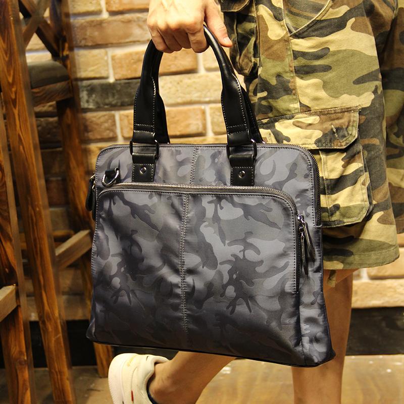 迷彩男包横款手提包商务出差公文包单肩包斜挎包休闲包男士包包潮