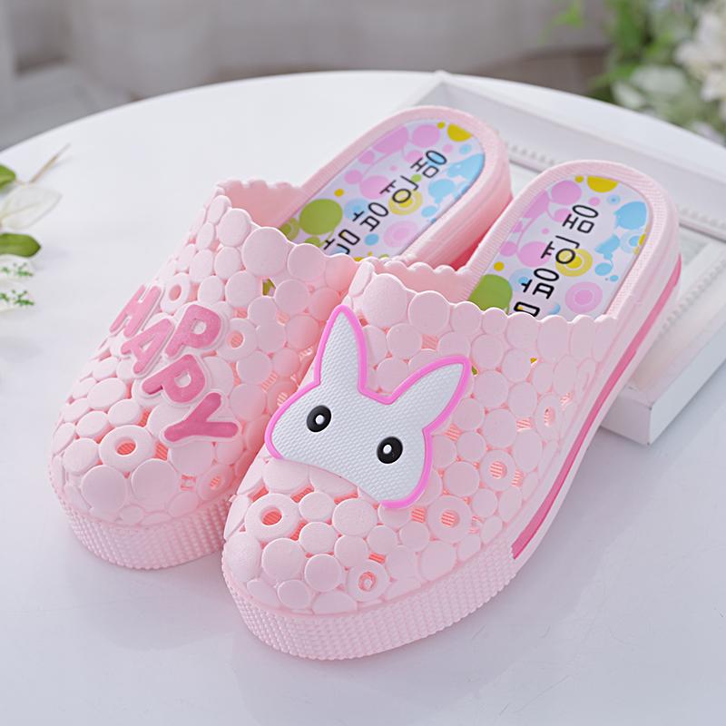 夏季新款半包頭拖鞋可愛兔子防滑高跟涼拖沙灘鞋厚底洞洞鞋白色女