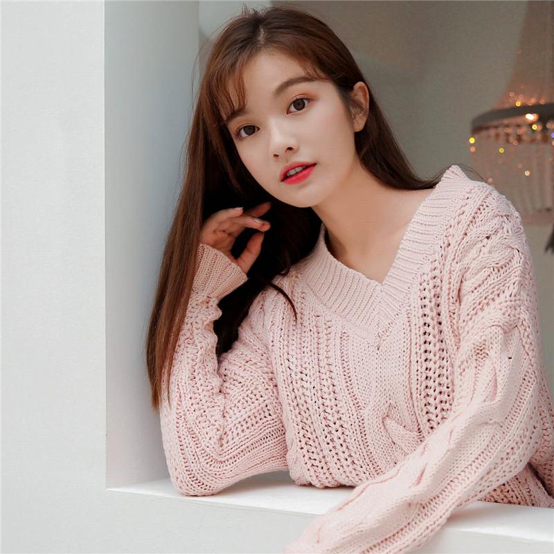 慵懒风网红毛衣女2018新款套头甜美小清新韩版宽松针织衫v领 1096
