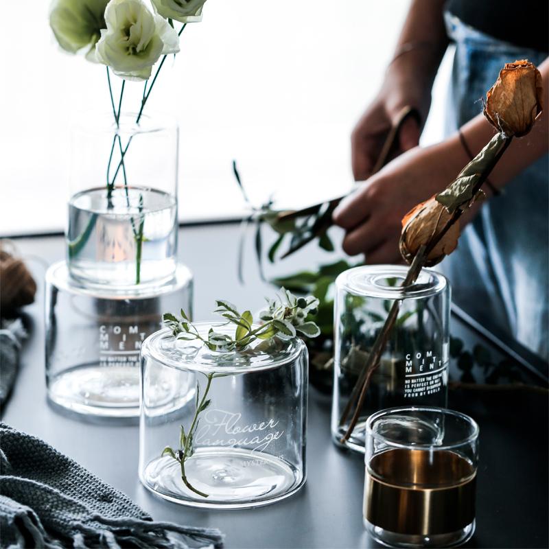 矮款-love肆月 如此 簡約透明玻璃插花瓶花器擺件小孔植物水培瓶干花香薰瓶