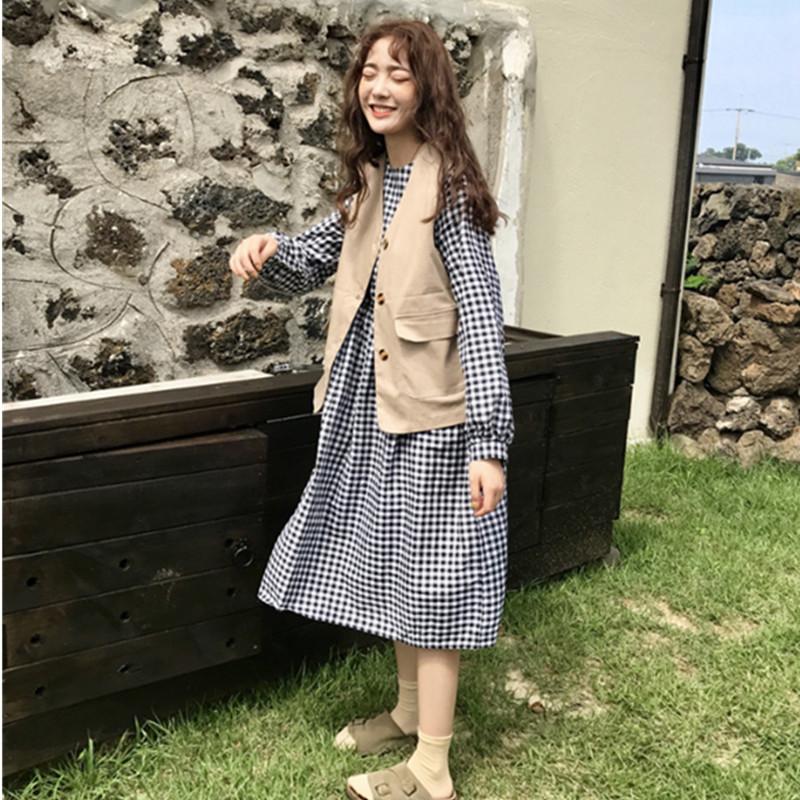 秋季新款韓版學院風中長款娃娃衫格子連衣裙 無袖馬甲外套兩件套