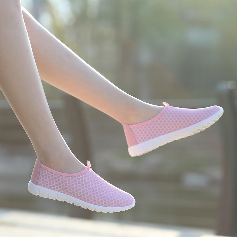 2017新款夏季透气网鞋休闲运动女鞋软底单鞋平底跑步鞋防滑网布鞋