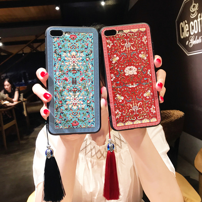Chinese Ancient Phone Cases Embossed Peony iphoneX Apple 8plus all-inclusive Chinese style tassel 7plus 6S creative models